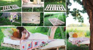 Как смастерить на дачном участке качели из поддонов своими руками