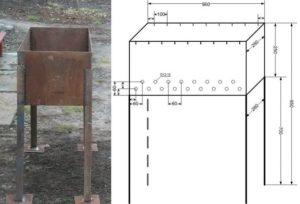 Размеры мангала для шашлыка: чертеж из железа, способы изготовления