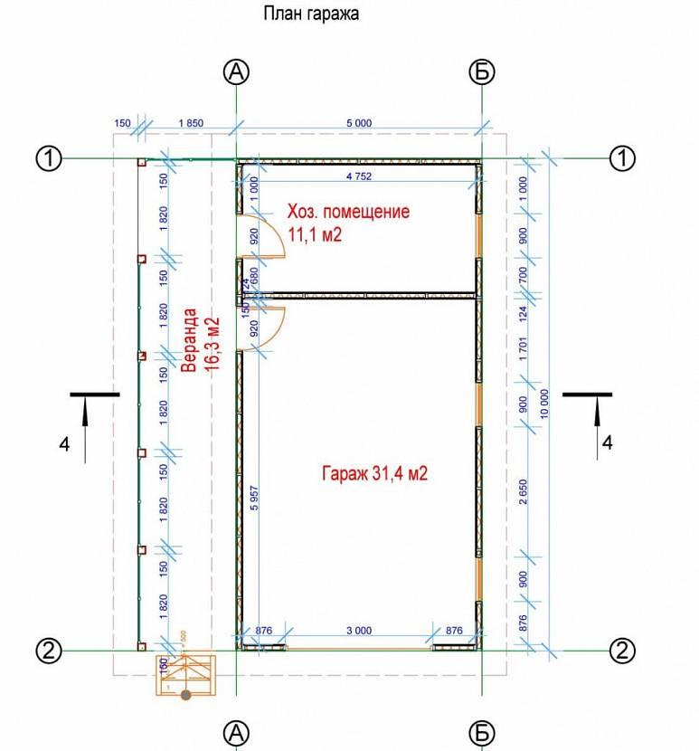 Гараж с хозблоком и навесом на даче: проекты и чертежи