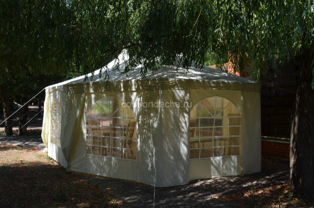 Как собрать и закрепить на дачном участке шатер своими руками