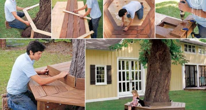 Скамейка вокруг дерева: как сделать своими руками на даче