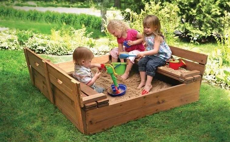 Песочница с крышкой-скамейкой для дачи: как сделать своими руками