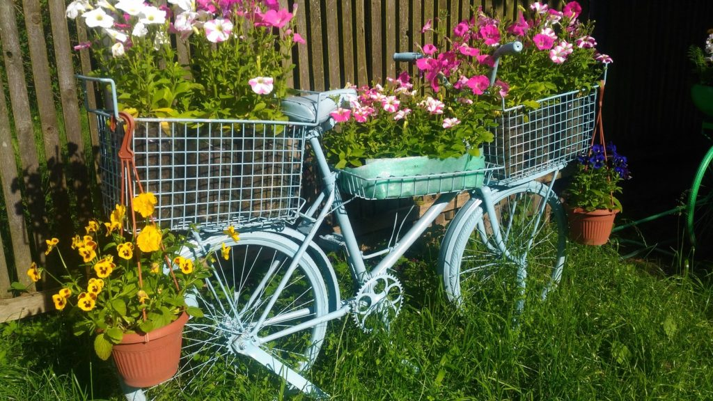 Клумба из велосипеда на даче — как сделать композицию самостоятельно