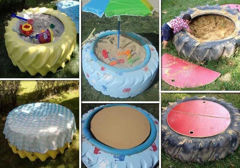 Песочница из шин: как сделать на даче своими руками