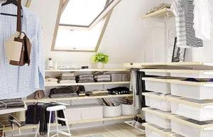Гардеробная на мансарде — со скошенным потолком, особенности обустройства