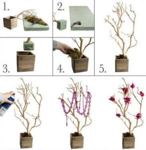 Поделки из веток деревьев своими руками — картины и элементы декора